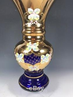 10TALL Bohemian Czech Cobalt Blue 24K Gold Enamel Hand Cut Crystal Vase