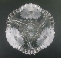10 tall CORSET VASE antique ABP cut glass DAISY decor, Ray cut base c. 1900