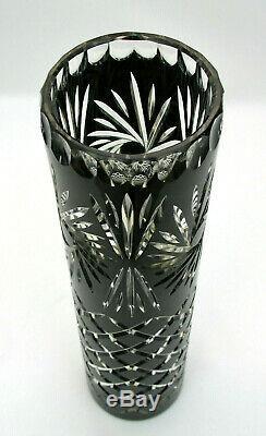 11 3/4 Black Cut To Clear Crystal Pillar Vase Pinwheel & Criss Cross Cuts