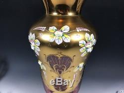 12.5 TALL Bohemian Czech Ruby Red 24K Gold Enamel Hand Cut Crystal Vase