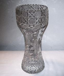 12'' Tall Crystal Corset Style Vase Hand Cut Early 1900's