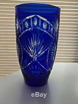 12 Toll COBALT Bohemian Czech CUT TO CLEAR Glass Crystal Vase Big and Heavy