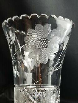 12 tall Antique Corset American Brilliant Flowers Cut Crystal Vase daisies