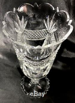 16 Tall TOWLE Diamond Point Swags Fan Cut Crystal Pedestal Vase MINT CONDITION