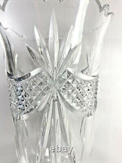 16 Towle 24% Lead Crystal Pedestal Vase Diamond Point Swags Fan Cut