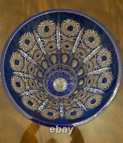 17 tall Cobalt Blue French Cut to Clear Crystal Vase Queens Lace Panels