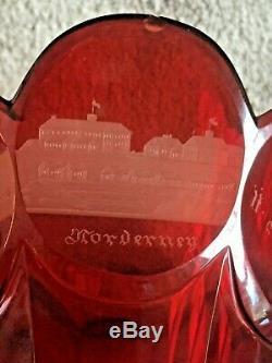 1844 German Bohemian Ruby Cut Crystal Vase Norderney Germany