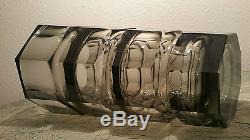 1905 Art Deco cut crystal Moser smoked glass vase vtg czech mid century modern