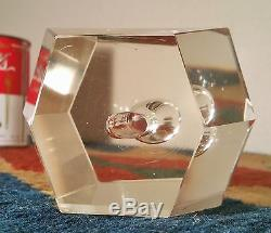 1960s MCM orchid vase vtg office art glass cut crystal flower geode paperweight