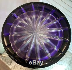 1970s Nieman Marcus Amethyst & Clear Crystal Cut VASE 16 T FRENCH GLASS