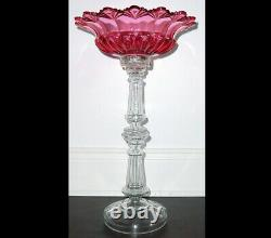 19C Antique Imperial Russian Cut Glass Cranberry Fruit Vase Candy Bowl on Stem
