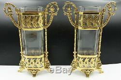 19th Century French Baccarat Cut Crystal Ormolu Bronze Empire Flower Vase Pair