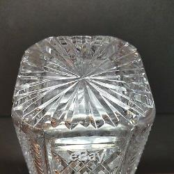 1 (One) WATERFORD GIFTWARE Cut Lead Crystal Diamond Cut Square Hex Vase 7