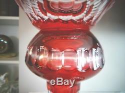 21 Bohemian Crystal Ruby Red Overlay Cut to Clear Intaglio GOLFER Trophy VASE