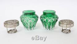 2 Antique Belgian Crystal Green Cut Flower Pic Vases VAL-SAINT-LAMBERT c1900