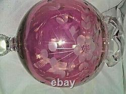 2 VINTAGE CZECH BOHEMIAN Glass/Crystal ROSECUT TO CLEAR CRYSTALPair COMPOTE7
