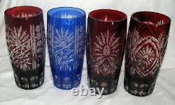 4 blue & red Germany vintage BEAKER pint Beer glass cut to clear LEAD CRYSTAL 7