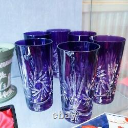 6 Amethyst Glasses Highball Cocktail Cut Crystal Pinwheel Decoration Set Vintage