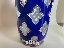 910320 Blue Overlay White Overlay Crystal Vase WithRound, Petal Shape Cuts WithGold