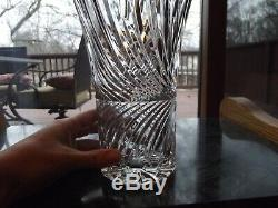 9-1/2 Flower VASE Germany Lausitzer Glass 24% Lead Crystal vintage cut swirl