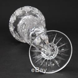 ABP American Brilliant Cut Crystal Vase 10.5 Tall Hobstar Buzz Pattern Glass