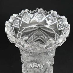 ABP American Brilliant Cut Crystal Vase 10.5 Tall Luzerne Glass Co Olga Pattern