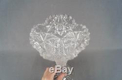 ABP American Brilliant Hobstars & Zipper Clear Cut Crystal 11 3/4 Trumpet Vase