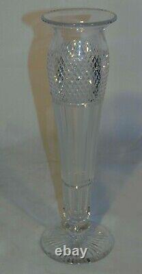 ABP Brilliant Cut Glass Crystal Vase Diamond Vertical Stripes 14 Long Stem Rose