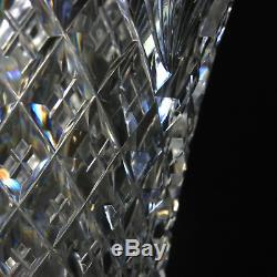 ABP Cut Glass Trumpet Vase Diamond Pattern Crystal 4.25lbs Unsigned 14 Tall