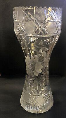 ABP Cut Large Vintage Crystal Vase With Floral And Leaf Designs In Pattern