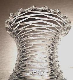 ABP Massive Crystal Vase Cut Neck & Cornflower American Brilliant Period ABCG
