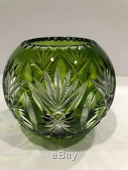 AMAZING ST LOUIS CRYSTAL BUD VASE OR VOTIVE Lime Green cut to clear
