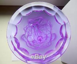 ART DECO Crystal Grape Harvest Large Vintage Vase Czech Bohemian Hand Cut Glass