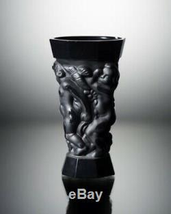 ART DECO Crystal Vintage Vase Czech Bohemian Hand Cut Glass Kids Black