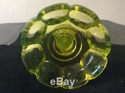 A Truly Stunning Bohemian/ Czech Cut Crystal Yellow Vaseline/ Uranium Glass Vase