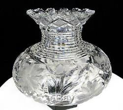 Abp Elmira Brilliant Cut Crystal Daisy & Thistle Step Neck Large 7 Vase