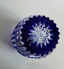 Ajka Averil Cased Cut To Clear Cobalt Blue Lead Crystal Vase, 8
