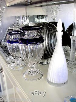 Ajka Cobalt Blue Varnet Cased Cut To Clear Crystal 13 Console Vase