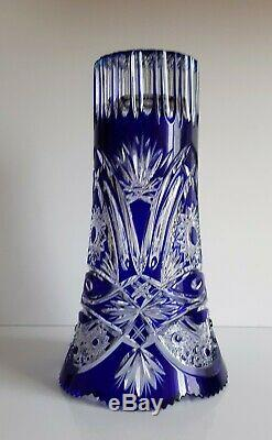 Ajka Crystal Cobalt Blue Cut To Clear Vase, Limited Edition, Brand New