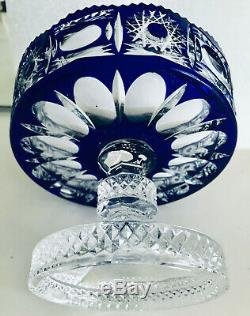 Ajka Hungary Blue Cobalt Cased Cut To Clear Crystal Vase Comport Compot Service