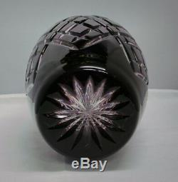 Ajka Hungary Cut To Clear Crystal Amethyst Sara Vase Nib Simply Stunning
