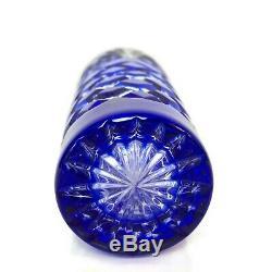 Ajka cobalt blue bud vase cut to clear crystal glass bud flower stem vase 7