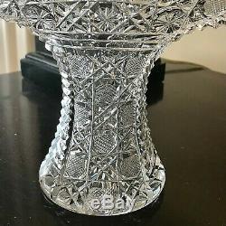 American Brilliant Cut Crystal Glass Vase Fan Shape