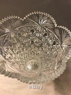 American Brilliant Cut Crystal Scalloped Sawtooth Daisy Button Fan Diamond vase