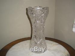American Brilliant Cut Glass Deep Allover Cut Glass Crystal Vase Sawtooth 14