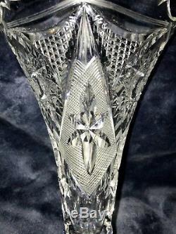 American Brilliant Period ABP Russian Cut Crystal Glass Vase Russia 8