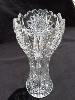 American Brilliant Period Hand Cut Antique Crystal Corset Vase