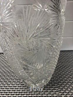 Antique 12 AMERICAN BRILLIANT ABP SIGNED PINWHEEL CUT CRYSTAL SAW TOOTH VASE
