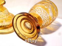 Antique 19thC Bohemian Vase & Cover Amber Flash Cut Glass Crystal