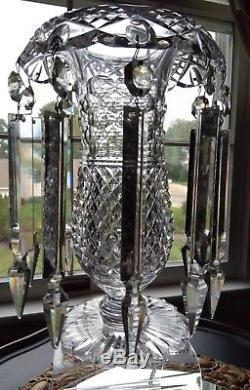 Antique Abp American Brilliant Period Cut Glass Crystal Rolled Edge Vase With